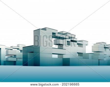 3d render minimalism and constructivism style building
