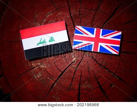 Iraqi Flag With British Flag On A Tree Stump Isolated