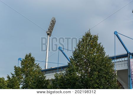 The Nuremberg Football Stadium From The Outside With Floodlight
