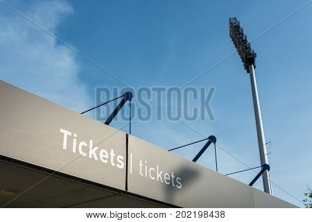 Tickets Office At The Nuremberg Football Stadium From The Outside With Floodlight