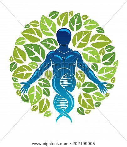 Vector graphic illustration of muscular human depicted as DNA strands continuation and created with ecology tree leaves. Green thinking technology innovations ecology conservation concept.