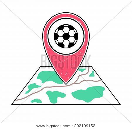 Textured red geotag icon with football symbol pointing at a map.GPS navigation.Mobile device smartphone app website vector illustration.Team sport game sign. Soccer field location on a plan