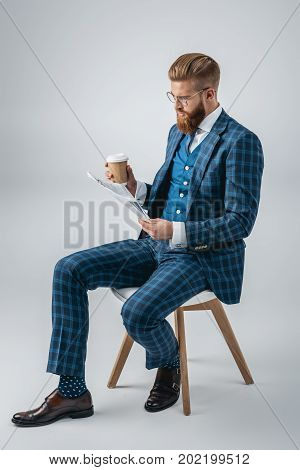 Stylish Man Reading Newspaper