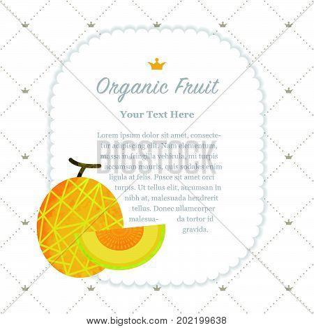 Colorful Watercolor Texture Nature Organic Fruit Memo Frame Cantaloupe Melon