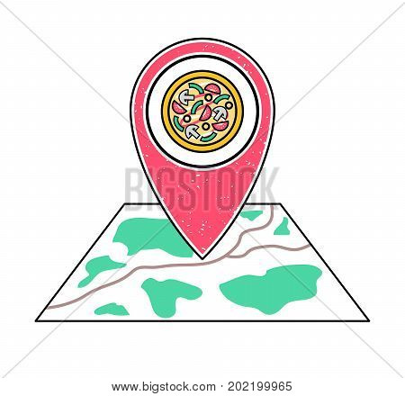 Textured red geotag icon with pizza symbol pointing at a map. Pizzeria emblem. UI mobile device smartphone app website vector illustration. Italian food restaurant sign. Pizza parlor location.