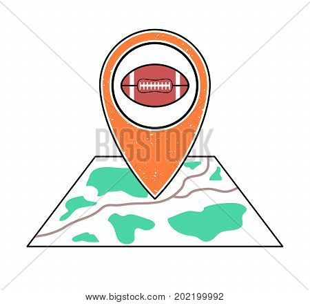 Textured orange geotag icon with rugby ball symbol pointing at a map.GPS navigation.Mobilesmartphone app website vector illustration.Team sport game sign. American football field location on a plan