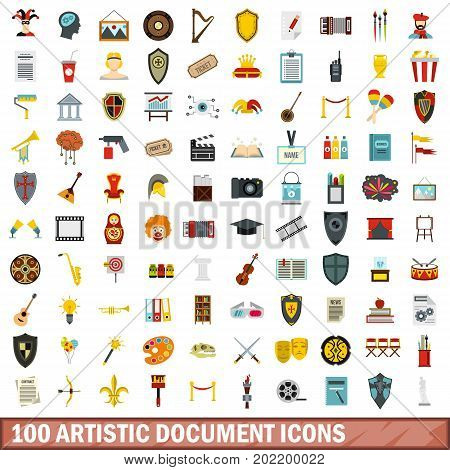 100 artistic document icons set in flat style for any design vector illustration