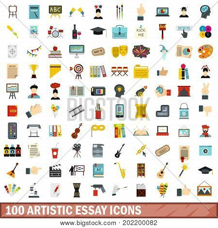 100 artistic essay icons set in flat style for any design vector illustration