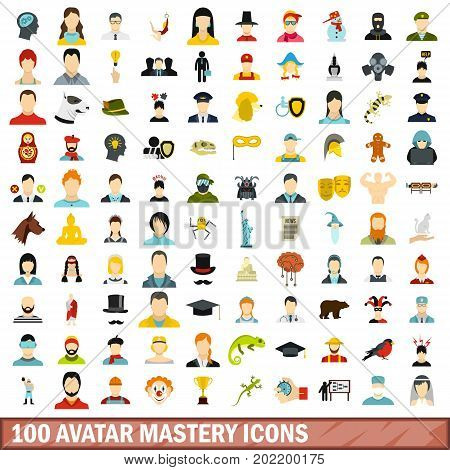 100 avatar mastery icons set in flat style for any design vector illustration