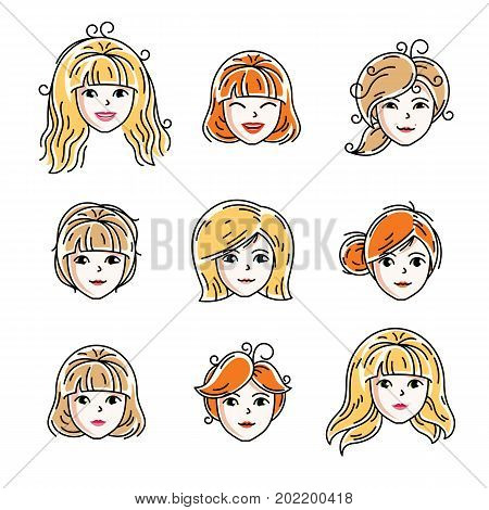 Set of women faces human heads. Different vector characters like redhead and blonde females attractive ladies face features collection.