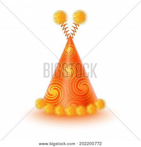 Brightly decorated with spirals and fluffy pompons on antennas party hat. Yellow conical paper cap for festive costumes isolated vector illustration. Birthday or New Year party dressing accessory icon