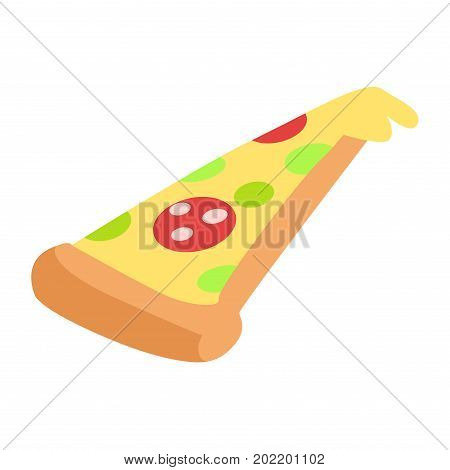 Slice of hand drawn appetizing pepperoni pizza isolated on white. Spicy salami, cheese mozzarella and greens on thin dough. Crispy crust. Vector illustration of Italian traditional food flat design.
