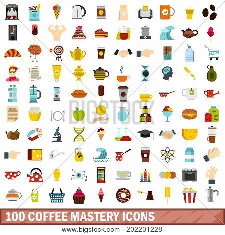 100 coffee mastery icons set in flat style for any design vector illustration