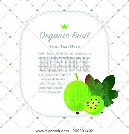 Colorful Watercolor Texture Nature Organic Fruit Memo Frame Green Gooseberry