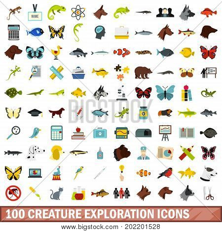100 creature exploration icons set in flat style for any design vector illustration