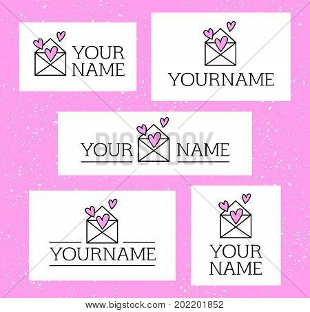 Elegant romantic business logo set. Pink hearts in white envelope collection of 5 logotype concepts. Cute love letter with hearts inside. Event management wedding planning dating company emblem.