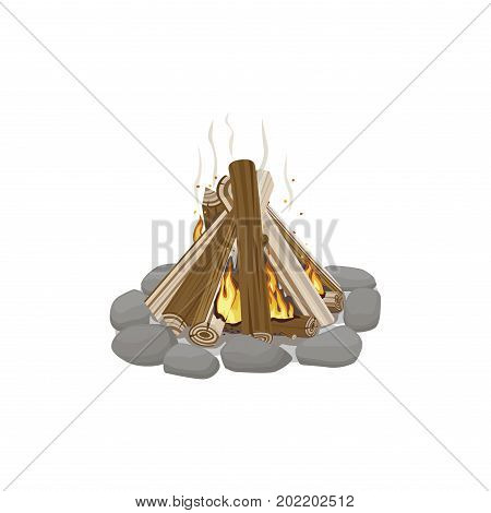 Start of firewood burning. Campfire bonfire surrounded by stones on white background. Firewood element with wood piles. Outdoor pastime on nature. Isolated vector illustration of fire in cartoon style