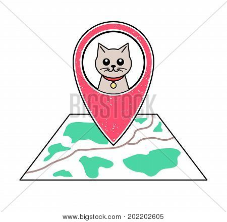 Textured red geotag icon with cat symbol pointing at a map.GPS navigation.Mobile device smartphone app website vector illustration.Pet shop sign.Animal shelter location on a plan.Vet clinic emblem.