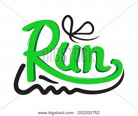 Running green shoe trainers symbol on white background. Running is useful for your health, keeps fit. Vector illustration logotype provokes to move rapidly on feet. Logo in flat style design