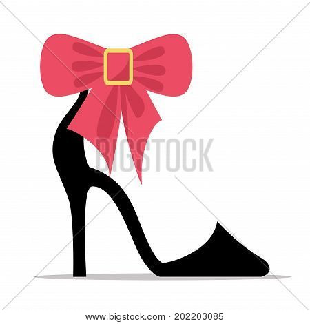Womens shoe with high stiletto heel and red bow flat vector icon isolated on white background. Elegant high-heeled court footwear with decoration illustration for fashion concepts