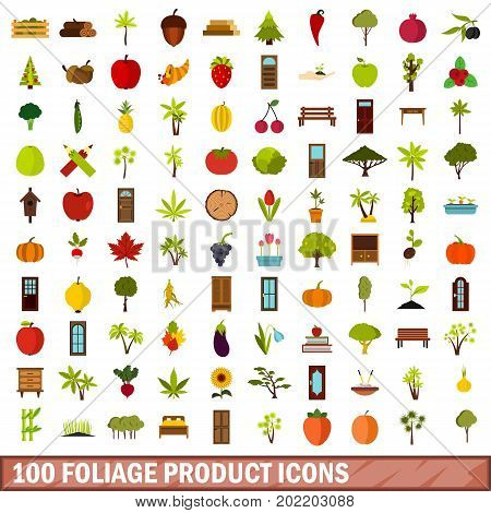 100 foliage product icons set in flat style for any design vector illustration