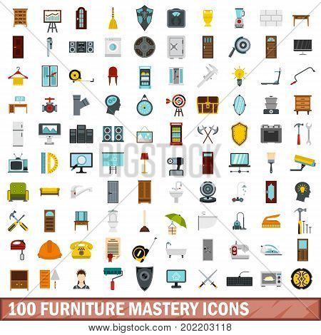 100 furniture mastery icons set in flat style for any design vector illustration
