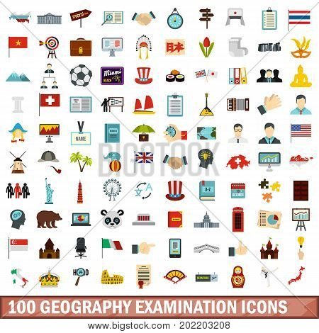 100 geography examination icons set in flat style for any design vector illustration