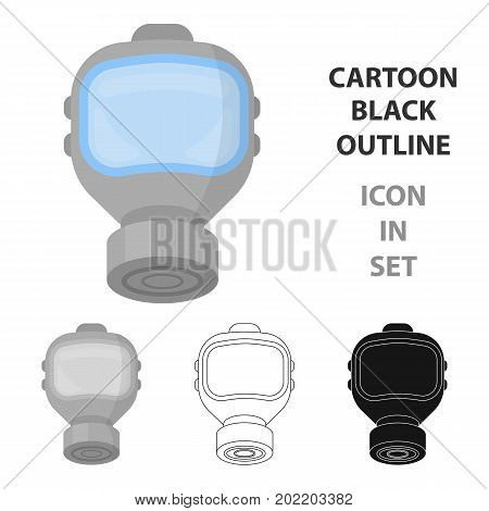 Fire gas mask icon cartoon style. Single silhouette fire equipment icon from the big fire Department cartoon.