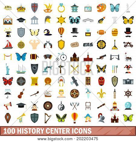 100 history center icons set in flat style for any design vector illustration