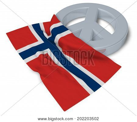 peace symbol and flag of norway - 3d rendering