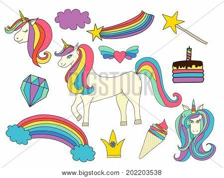 Unicorn magic set. Cute collection with unicorn, rainbow, fairy wings, crown, ice-cream, cake, star, heart with wings, diamond. Vector illustration.