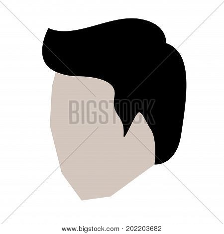 man head faceless with short hair in white background vector illustration