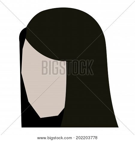 woman head faceless with straight long hair in white background vector illustration
