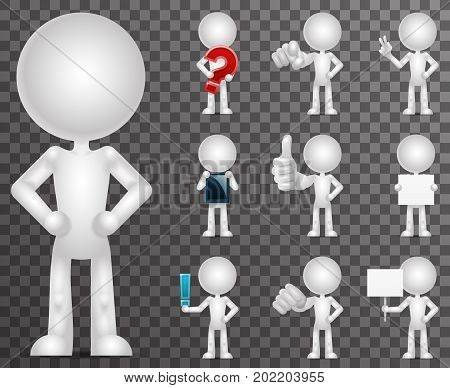 3d blank character cartoon empty isolated set icons render design vector illustration