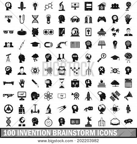 100 invention brainstorm icons set in simple style for any design vector illustration