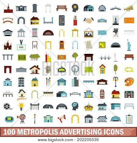 100 metropolis advertising icons set in flat style for any design vector illustration