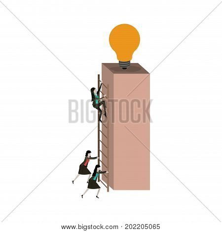 white background with businesswomen climbing wooden stairs in a big rectangular block with light bulb in the top vector illustration