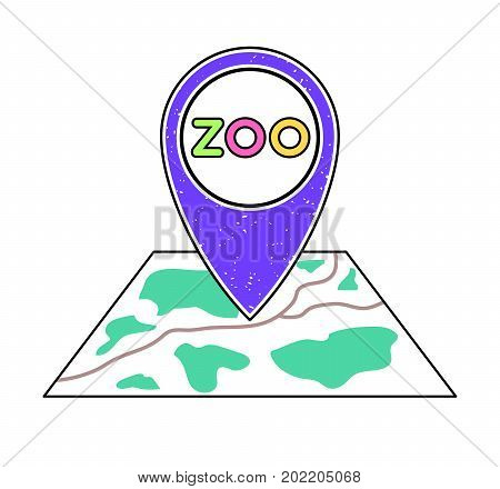 Textured violet geotag icon with zoo symbol pointing at a map.GPS navigation.Mobile device smartphone app website vector illustration.National park sign location on a plan.Zoological garden emblem.