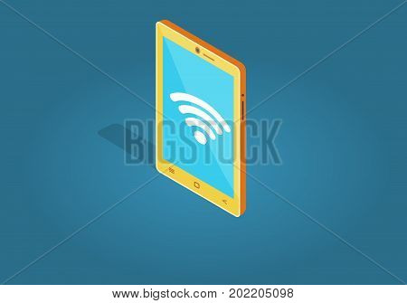 Yellow smart phone wi-fi connection flat style isolated on blue. Blue screen with white sign wi-fi symbol on mobile phone. Wireless connectivity concept. Vector illustration in cartoon design.