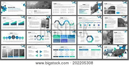 Blue-green presentation templates elements on a white background. Vector infographics. Use in Presentation, flyer and leaflet, corporate report, marketing, advertising, annual report, banner.