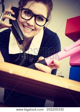 Happy Secretary Business Woman In Office