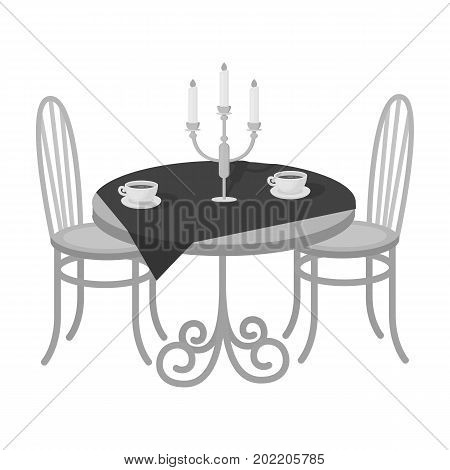Served table in the restaurant. Furniture single icon in monochrome style Isometric vector symbol stock illustration .