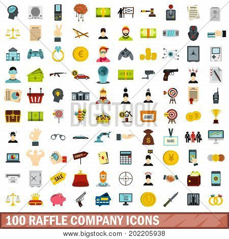100 raffle company icons set in flat style for any design vector illustration