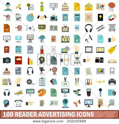 100 reader advertising icons set in flat style for any design vector illustration