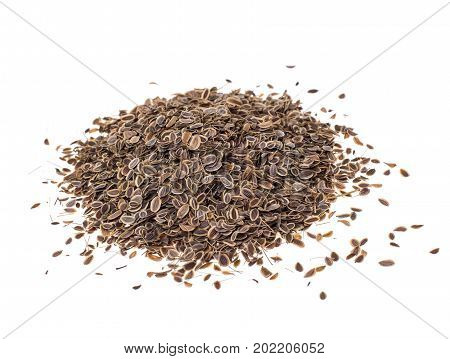 Dried dried fennel seeds on white background. Studio Photo