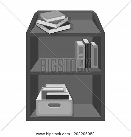 A rack with books and documents. Office furniture single icon in monochrome style Isometric vector symbol stock illustration .