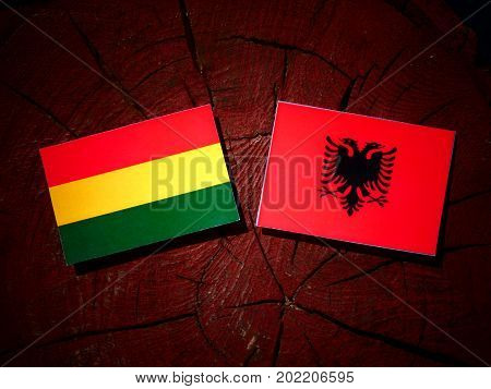 Bolivian Flag With Albanian Flag On A Tree Stump Isolated
