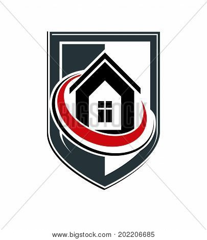 Property protection idea stylized heraldic symbol with vector classic house. Real estate agency graphic element conceptual shield can be used in web design.
