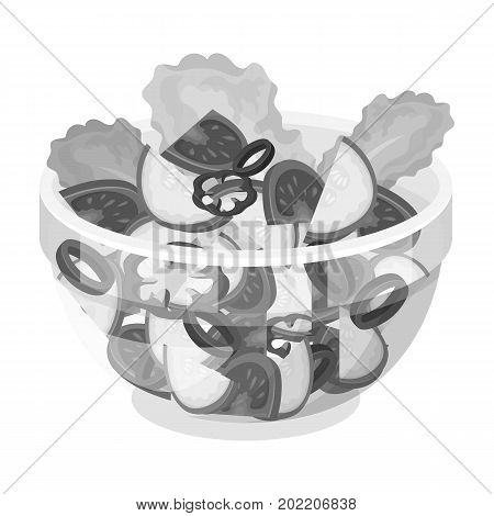 Delicious vegetable salad. Vegetarian food single icon in monochrome style vector symbol stock illustration .