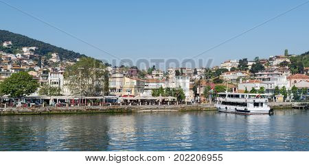 Istanbul Turkey - April 27 2017: View of Heybeliada island from the sea with summer houses. the island is the second largest one of four islands named Princes' Islands in the Sea of Marmara near Istanbul